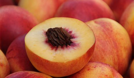 Doorgesneden nectarine met pit