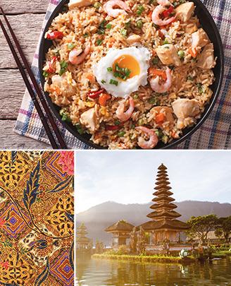 Collage van foto's. Indonesische nasi.