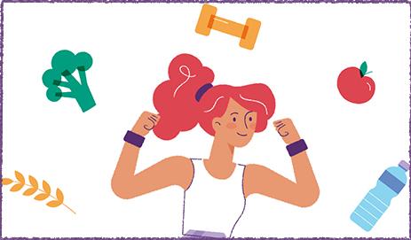 Illustratie van sportende dame met symbolen van gezonde leefstijl