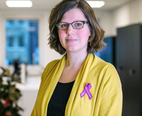 Draag het paarse lintje