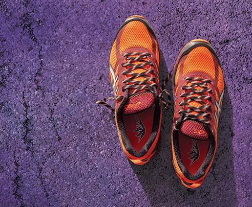 Hardloopschoenen van boven bekeken