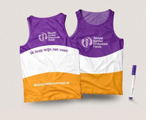 Hardloopshirt van het Wereld Kanker Onderzoek Fonds
