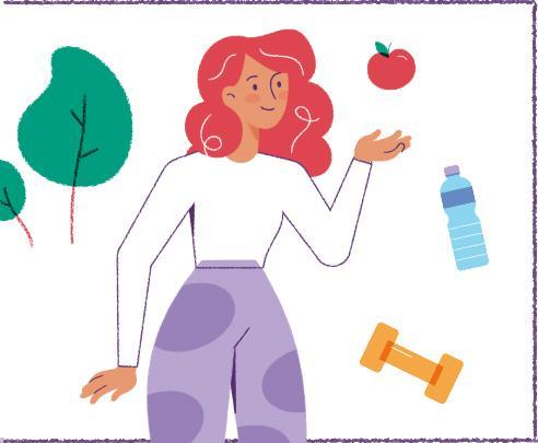 Illustratie van dame met appel, waterfles en dumbbell