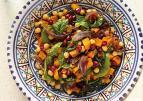 Marokkaanse salade met gekruide pompoen en kikkererwten